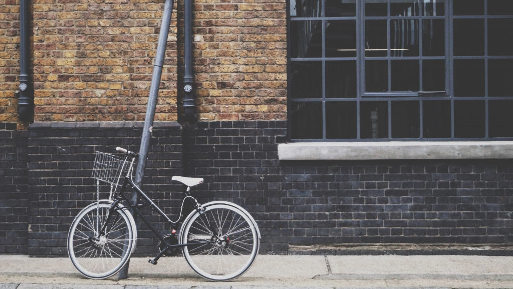 Bike locked up on the side of a London street